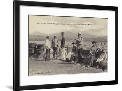 Customs Officers and Town Sergeant at the Naval Station, Hondarribia--Framed Photographic Print