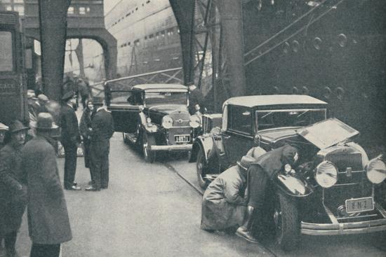 'Customs Officers Examining Motor Cars at Southampton', 1937-Unknown-Photographic Print