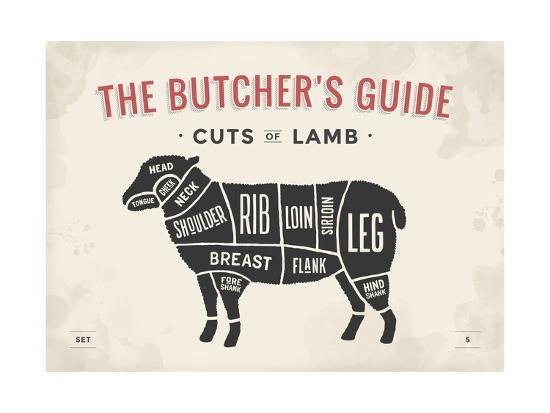 Cut of Meat Butcher Diagram - Lamb Art Print by foxysgraphic | Art com