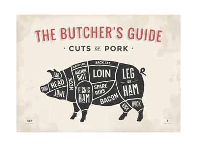 cut of meat butcher diagram pig art print by foxysgraphic art com pig butcher diagram pig butcher diagram #5
