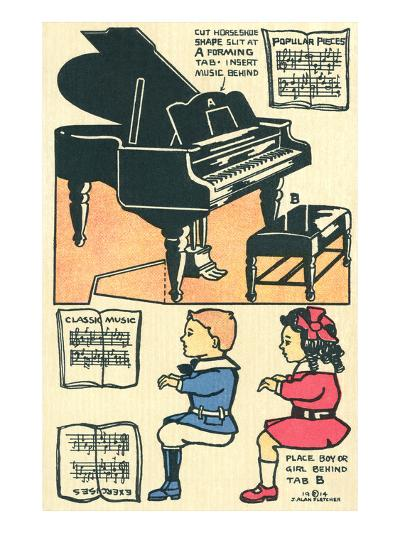 Cut-Out Model of Children Playing Piano--Art Print