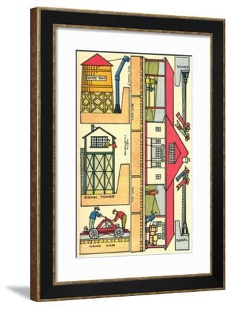 Cut-out Model of Train Station--Framed Art Print