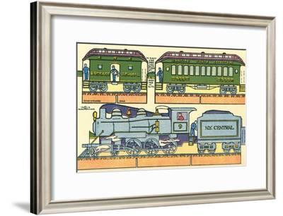 Cut-out Model of Train--Framed Art Print