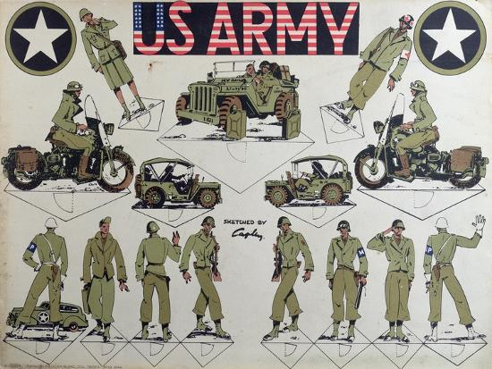 Cut-Outs of Us Army Figures and Vehicles, C.1944-45--Giclee Print