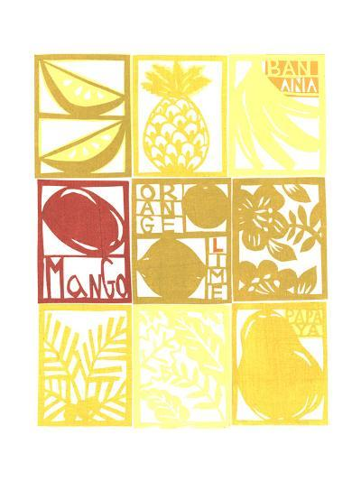 Cut Paper Tropical Fruits and Plants in a Grid--Art Print