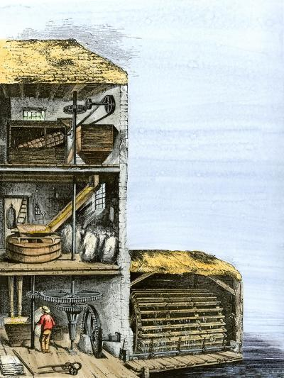 Cutaway View of a Water-Powered Mill for Grinding Grain Into Flour--Giclee Print