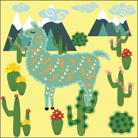 Cute Alpaca and Cactus-Michiru1313-Art Print
