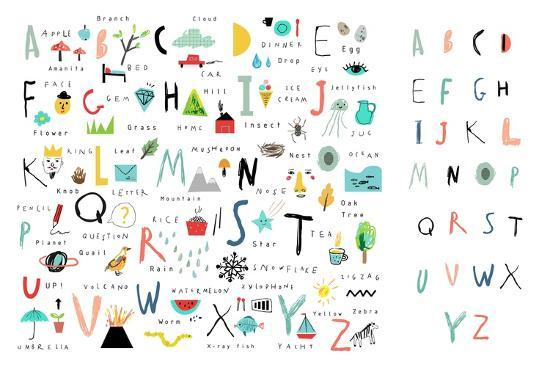 Cute Alphabet - Letters and Words-Lera Efremova-Art Print