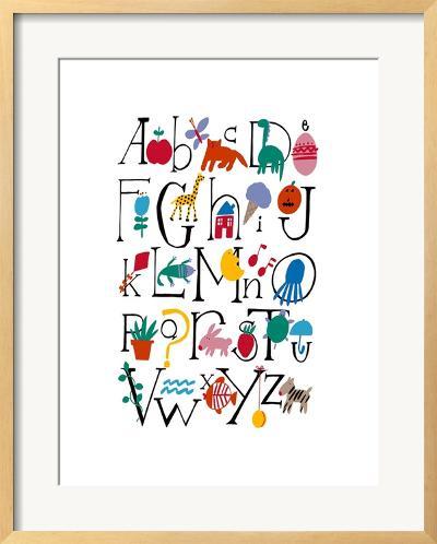 Cute Alphabet with Illustrations--Framed Art Print
