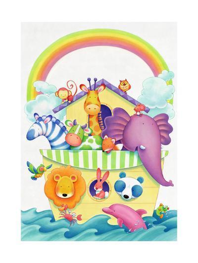 Cute Animals on Ark--Art Print