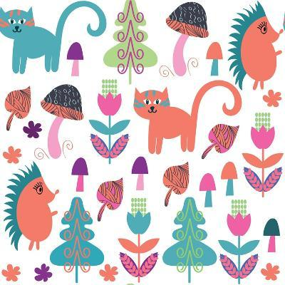 Cute Animals Seamless Pattern with Cats and Hedgehogs and Seamless Pattern in Swatch Menu, Vector-Luiza Kozich-Art Print