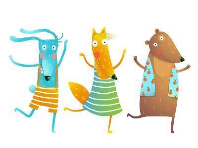 Cute Baby Animals Rabbit Fox Bear Dancing or Playing Kids Characters Wearing Clothes. Childish Cart-Popmarleo-Art Print