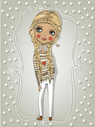 Cute Blonde Girl-Elena Barenbaum-Art Print