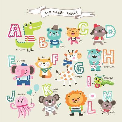 Cute Cartoon Animals Alphabet from A to M- littleWhale-Art Print