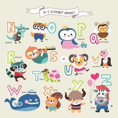 Cute Cartoon Animals Alphabet from N to Z- littleWhale-Art Print