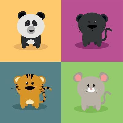 Cute Cartoon Animals-Nestor David Ramos Diaz-Art Print