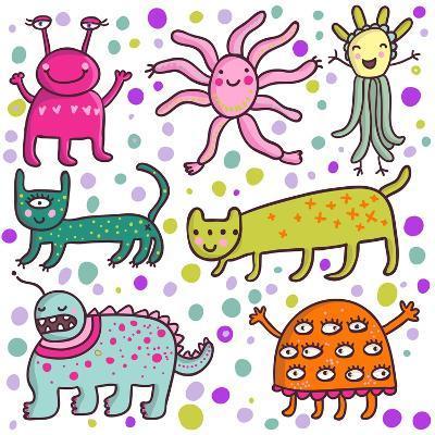 Cute Cartoon Monsters-smilewithjul-Art Print