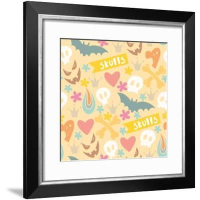 Cute Cartoon Seamless Pattern with Funny Skulls, Letters, Hearts, Flowers and Crowns in Gentle Colo-MarushaBelle-Framed Premium Giclee Print