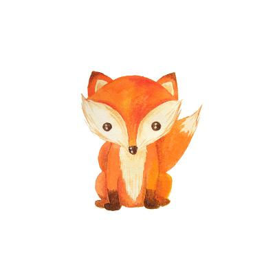 Cute Cartoon Watercolor Forest Animal. Hand Painted Lovely Baby Fox Illustration Perfect for Print-Zabrotskaya Larysa-Art Print