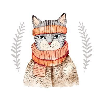 Cute Cat in Scarf .Illustration with Domestic Animal.Watercolor Hand Drawn Illustration for Kids.Cu-Maria Sem-Art Print