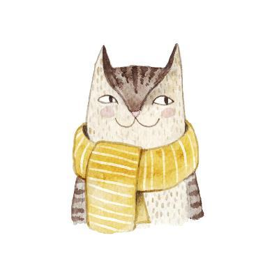 Cute Cat in Scarf . Watercolor Illustration with Domestic Animal. Lovely Pet. Hand Drawn Illustrati-Maria Sem-Art Print