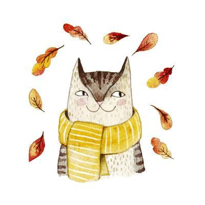 Cute Cat in Scarf with Autumn Leaves. Watercolor Illustration with Domestic Animal. Lovely Pet. Han-Maria Sem-Art Print