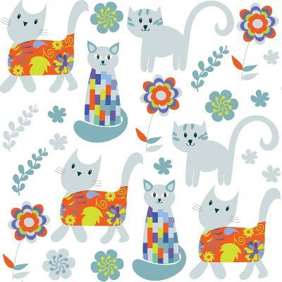 Cute Cats Seamless Pattern and Seamless Pattern in Swatch Menu, Image-Luiza Kozich-Art Print