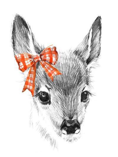 Cute Deer. Pencil Sketch of Fawn. Animal Illustration. T-Shirt Design.-Faenkova Elena-Art Print