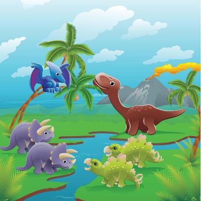 Cute Dinosaurs in Prehistoric Scene-Geo Images-Art Print