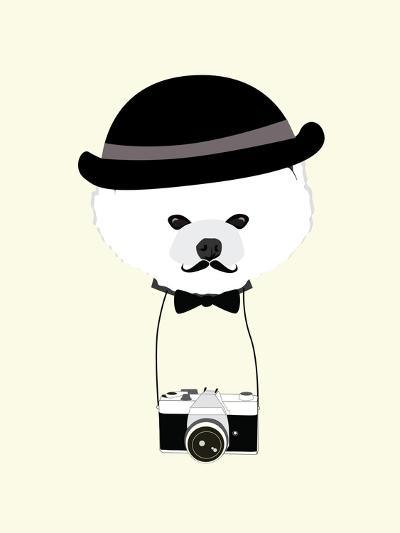 Cute Dog Photographer with Old Camera Vintage Illustration Vector-The Cute Design Studio-Art Print