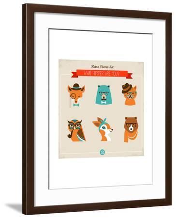 Cute Fashion Hipster Animals & Pets, Set of Vector Icons-Marish-Framed Art Print