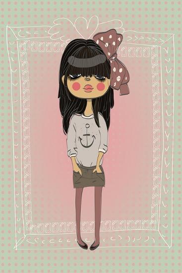 Cute Fashion Little Girl with Frame.-Elena Barenbaum-Art Print