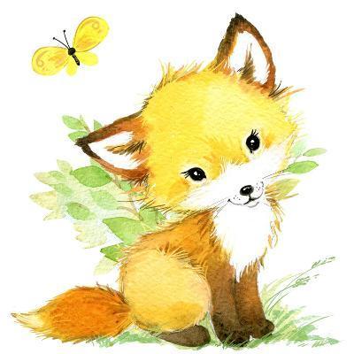 Cute Fox. Watercolor Forest Animal Illustration.-Faenkova Elena-Art Print