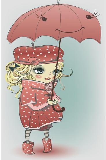 Cute Girl with Umbrella-Elena Barenbaum-Art Print
