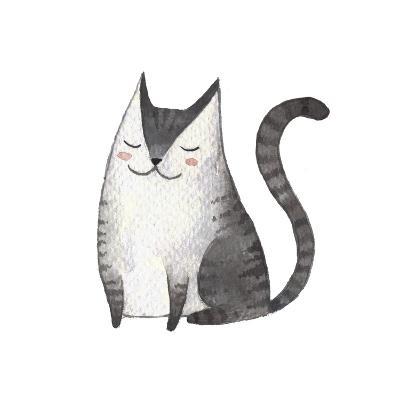 Cute Gray Cat. Watercolor Kids Illustration with Domestic Animal. Lovely Pet. Hand Drawn Illustrati-Maria Sem-Art Print