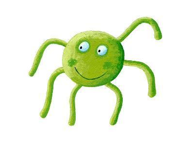 Cute Green Spider-andreapetrlik-Art Print