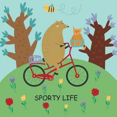 Cute Illustrations of Bear Riding a Bike in Cartoon Style. Sporty Life, Poster.-Kaliaha Volha-Art Print