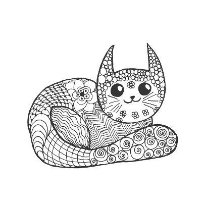Cute Kitten Black White Hand Drawn Doodle Animal Ethnic Patterned