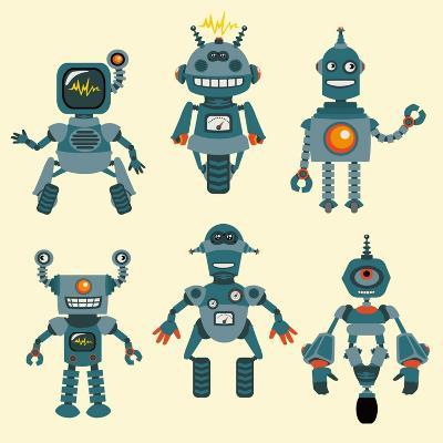 Cute Little Robots Collection - in Vector - Set 1-woodhouse-Art Print