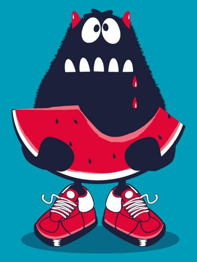 Cute Monster, Watermelon Vector Design- braingraph-Art Print