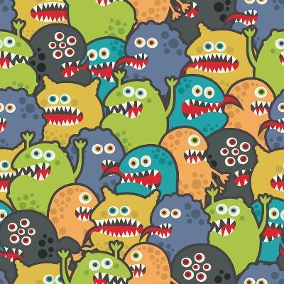 Cute Monsters Seamless Texture-panova-Art Print