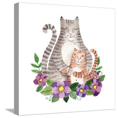 Cute Mother's Day Greeting Card with Cats. Watercolor Illustration-Maria Sem-Stretched Canvas Print