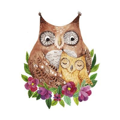 Cute Mother's Day Greeting Card with Owls. Watercolor Illustration-Maria Sem-Art Print