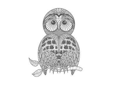 Cute Owl On Tree Branch-cherry blossom girl-Art Print
