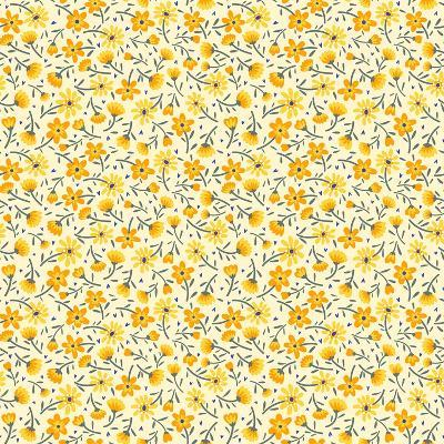 Cute Pattern in Small Flower. Small Yellow Flowers. White Background. Ditsy Floral Background. the- Ann and Pen-Art Print