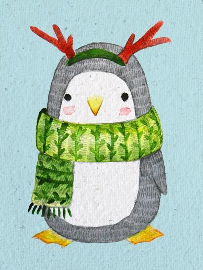 Cute Christmas Cards.Cute Penguin In Scarf Watercolor Illustration Perfect For Christmas Cards Art Print By Maria Sem Art Com