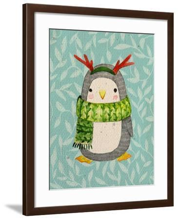 Cute Penguin in Scarf. Watercolor Illustration. Perfect for Greeting Cards-Maria Sem-Framed Art Print