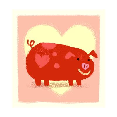 Cute Pig in Front of Heart--Art Print