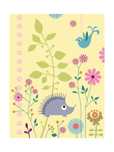 Cute Porcupine and Bird--Art Print