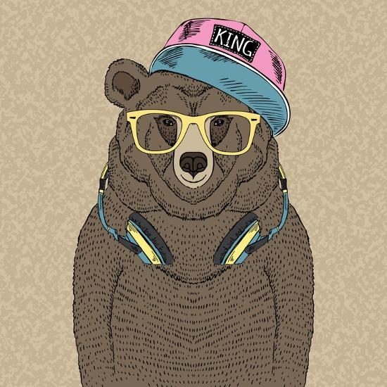 Cute Portrait of Bear with Headphones-Olga_Angelloz-Art Print